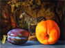 Still Life of a Peach and a Plum with Zebra