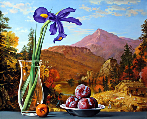 Iris and Plums with Cottage and Mountains
