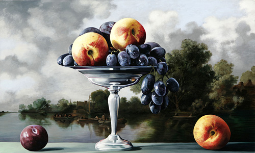 Nectarines and Grapes with River Scene