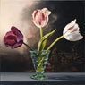 Three Tulips in Green Vase
