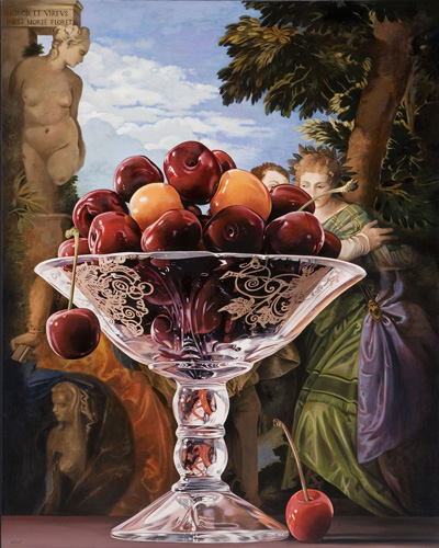 Still Life of Cherries with Choice Between Virtue and Vice