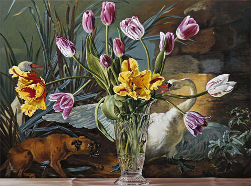 Tulips with Swan