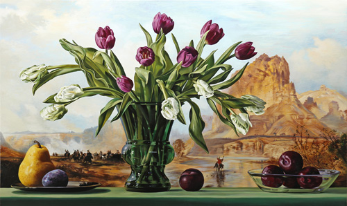 Tulips with Green River