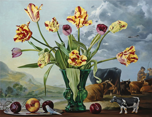 Striped Tulips with Cows